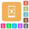 Mobile face detection rounded square flat icons - Mobile face detection flat icons on rounded square vivid color backgrounds.
