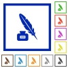 Feather and ink bottle with label flat framed icons - Feather and ink bottle with label flat color icons in square frames on white background