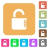 Unlocked combination lock with side numbers rounded square flat icons - Unlocked combination lock with side numbers flat icons on rounded square vivid color backgrounds.