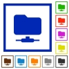 FTP flat framed icons - FTP flat color icons in square frames on white background