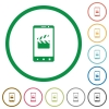 Smartphone film cut flat icons with outlines - Smartphone film cut flat color icons in round outlines on white background