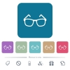 Eyeglasses white flat icons on color rounded square backgrounds. 6 bonus icons included - Eyeglasses flat icons on color rounded square backgrounds