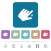 Left handed move down gesture flat icons on color rounded square backgrounds - Left handed move down gesture white flat icons on color rounded square backgrounds. 6 bonus icons included