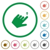 Left handed move up gesture flat color icons in round outlines on white background - Left handed move up gesture flat icons with outlines