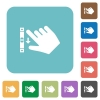 Right handed scroll down gesture flat round icons - Right handed scroll down gesture flat white icons on round color backgrounds