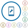 Mobile flashlight icons with shadows and outlines - Mobile flashlight flat color vector icons with shadows in round outlines on white background