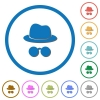 Incognito with glasses icons with shadows and outlines - Incognito with glasses flat color vector icons with shadows in round outlines on white background