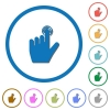 left handed clicking gesture icons with shadows and outlines - left handed clicking gesture flat color vector icons with shadows in round outlines on white background