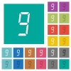 digital number nine of seven segment type square flat multi colored icons - digital number nine of seven segment type multi colored flat icons on plain square backgrounds. Included white and darker icon variations for hover or active effects.