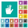 Left handed slide left gesture square flat multi colored icons - Left handed slide left gesture multi colored flat icons on plain square backgrounds. Included white and darker icon variations for hover or active effects.