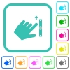 Left handed scroll up gesture vivid colored flat icons - Left handed scroll up gesture vivid colored flat icons in curved borders on white background