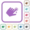 Left handed slide down gesture simple icons - Left handed slide down gesture simple icons in color rounded square frames on white background