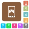 Mobile gaming rounded square flat icons - Mobile gaming flat icons on rounded square vivid color backgrounds.