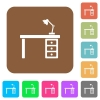 Desk with lamp rounded square flat icons - Desk with lamp flat icons on rounded square vivid color backgrounds.