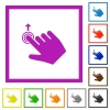 Right handed slide up gesture flat framed icons - Right handed slide up gesture flat color icons in square frames on white background