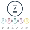 Mobile flashlight flat color icons in round outlines - Mobile flashlight flat color icons in round outlines. 6 bonus icons included.