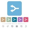 Split arrows left flat icons on color rounded square backgrounds - Split arrows left white flat icons on color rounded square backgrounds. 6 bonus icons included