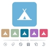 Tent white flat icons on color rounded square backgrounds. 6 bonus icons included - Tent flat icons on color rounded square backgrounds