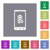 Mobile battery settings square flat icons - Mobile battery settings flat icons on simple color square backgrounds