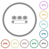 Luggage conveyor flat icons with outlines - Luggage conveyor flat color icons in round outlines on white background