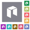 Neo digital cryptocurrency square flat icons - Neo digital cryptocurrency flat icons on simple color square backgrounds