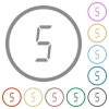 digital number five of seven segment type flat icons with outlines - digital number five of seven segment type flat color icons in round outlines on white background