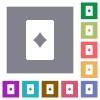 Diamond card symbol square flat icons - Diamond card symbol flat icons on simple color square backgrounds