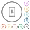 Mobile battery settings flat icons with outlines - Mobile battery settings flat color icons in round outlines on white background