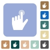 left handed clicking gesture rounded square flat icons - left handed clicking gesture white flat icons on color rounded square backgrounds