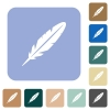Single feather white flat icons on color rounded square backgrounds - Single feather rounded square flat icons