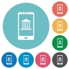 Mobile banking flat round icons - Mobile banking flat white icons on round color backgrounds