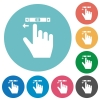 right handed scroll left gesture flat round icons - right handed scroll left gesture flat white icons on round color backgrounds