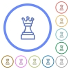 White chess queen icons with shadows and outlines - White chess queen flat color vector icons with shadows in round outlines on white background