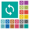 Programming loop square flat multi colored icons - Programming loop multi colored flat icons on plain square backgrounds. Included white and darker icon variations for hover or active effects.
