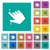 Right handed pinch open gesture square flat multi colored icons - Right handed pinch open gesture multi colored flat icons on plain square backgrounds. Included white and darker icon variations for hover or active effects.