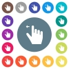 Right handed move left gesture flat white icons on round color backgrounds - Right handed move left gesture flat white icons on round color backgrounds. 17 background color variations are included.