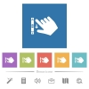 Right handed scroll down gesture flat white icons in square backgrounds - Right handed scroll down gesture flat white icons in square backgrounds. 6 bonus icons included.