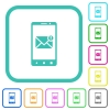 Smartphone incoming message vivid colored flat icons - Smartphone incoming message vivid colored flat icons in curved borders on white background