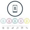 Mobile battery settings flat color icons in round outlines - Mobile battery settings flat color icons in round outlines. 6 bonus icons included.