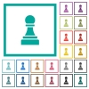 Black chess pawn flat color icons with quadrant frames - Black chess pawn flat color icons with quadrant frames on white background
