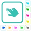 Right handed slide down gesture vivid colored flat icons - Right handed slide down gesture vivid colored flat icons in curved borders on white background