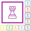 White chess rook flat framed icons - White chess rook flat color icons in square frames on white background