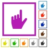 left handed pointing gesture flat framed icons - left handed pointing gesture flat color icons in square frames on white background