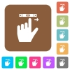 left handed scroll right gesture rounded square flat icons - left handed scroll right gesture flat icons on rounded square vivid color backgrounds.