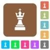 Black chess king rounded square flat icons - Black chess king flat icons on rounded square vivid color backgrounds.