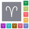 Aries zodiac symbol square flat icons - Aries zodiac symbol flat icons on simple color square backgrounds