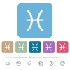 Pisces zodiac symbol flat icons on color rounded square backgrounds - Pisces zodiac symbol white flat icons on color rounded square backgrounds. 6 bonus icons included