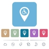 Disability accessibility GPS map location flat icons on color rounded square backgrounds - Disability accessibility GPS map location white flat icons on color rounded square backgrounds. 6 bonus icons included