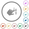 Left handed scroll up gesture flat icons with outlines - Left handed scroll up gesture flat color icons in round outlines on white background