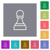 White chess pawn square flat icons - White chess pawn flat icons on simple color square backgrounds